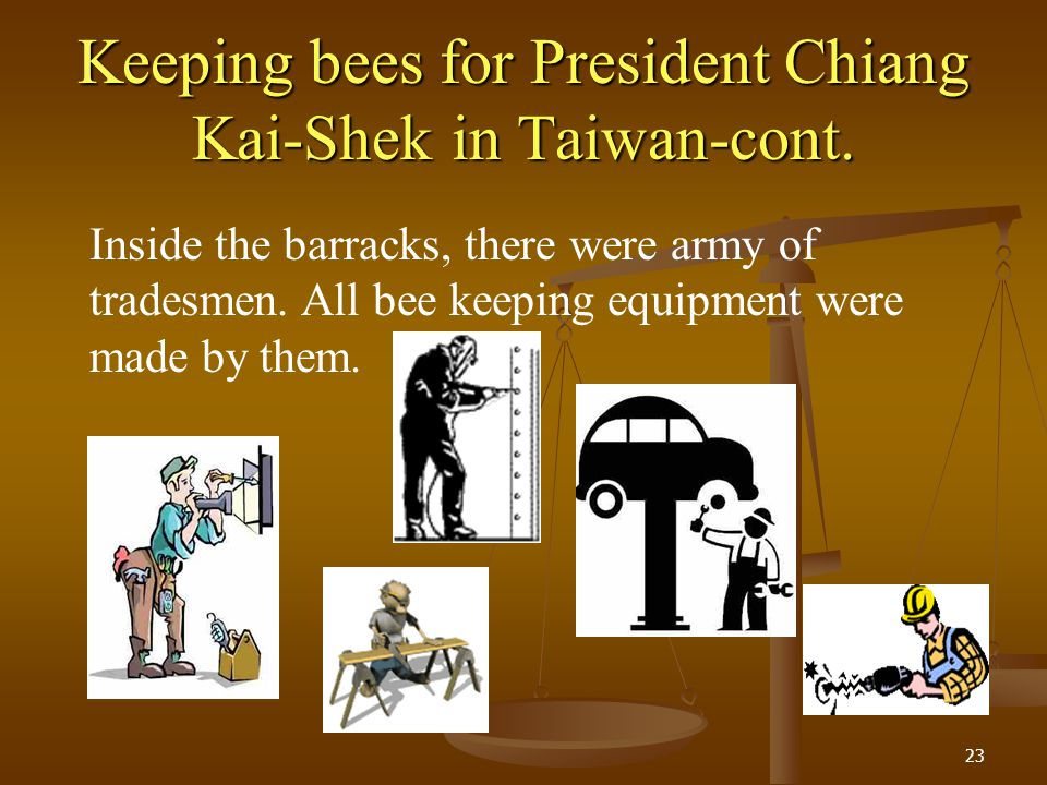 Keeping bees for President Chiang Kai-Shek in Taiwan-cont.