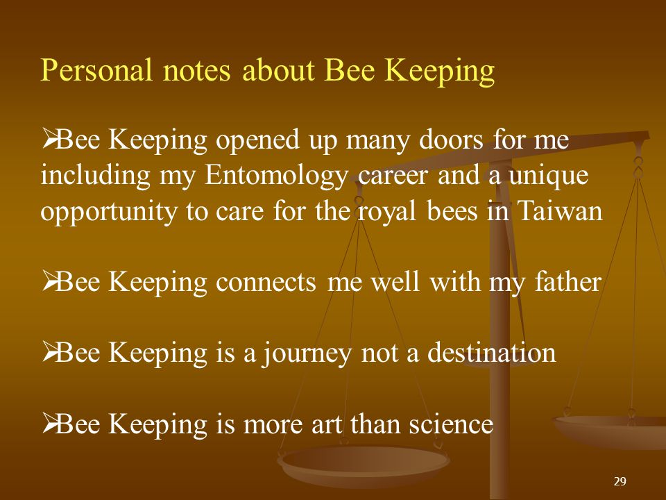 Personal notes about Bee Keeping