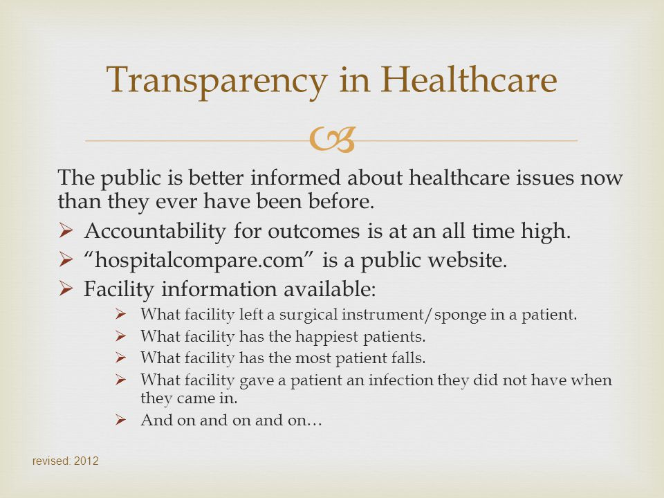 Transparency in Healthcare