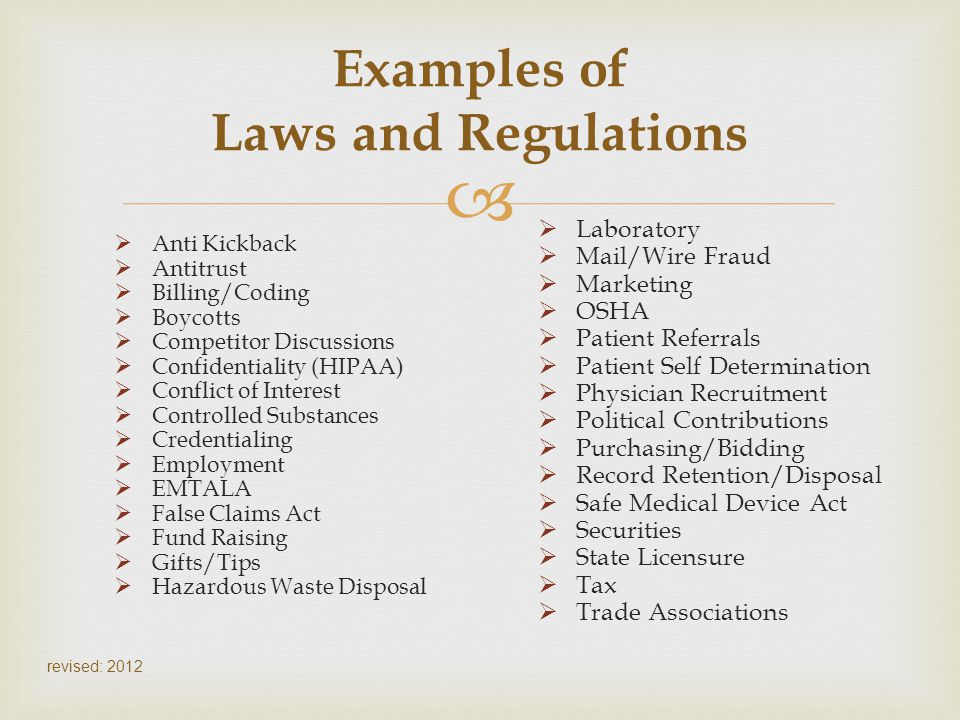 Examples of Laws and Regulations