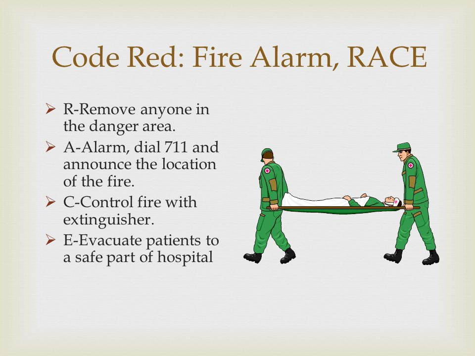 Code Red: Fire Alarm, RACE