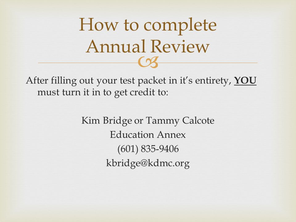 How to complete Annual Review