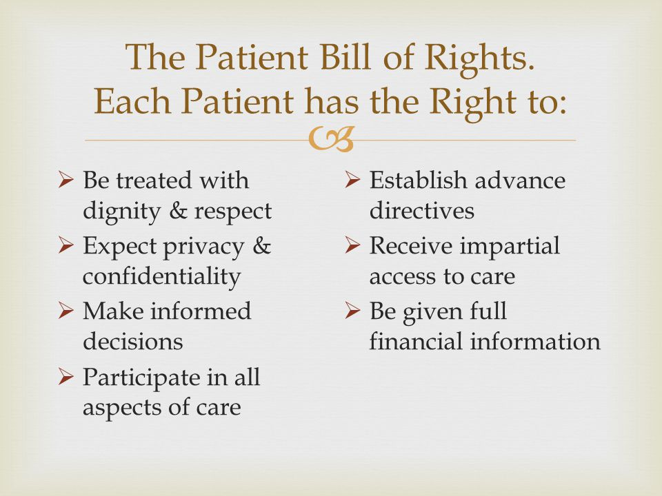 The Patient Bill of Rights. Each Patient has the Right to:
