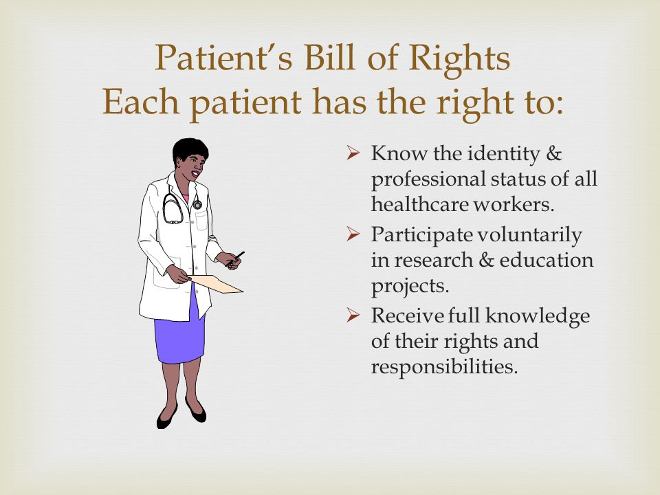 Patient's Bill of Rights Each patient has the right to: