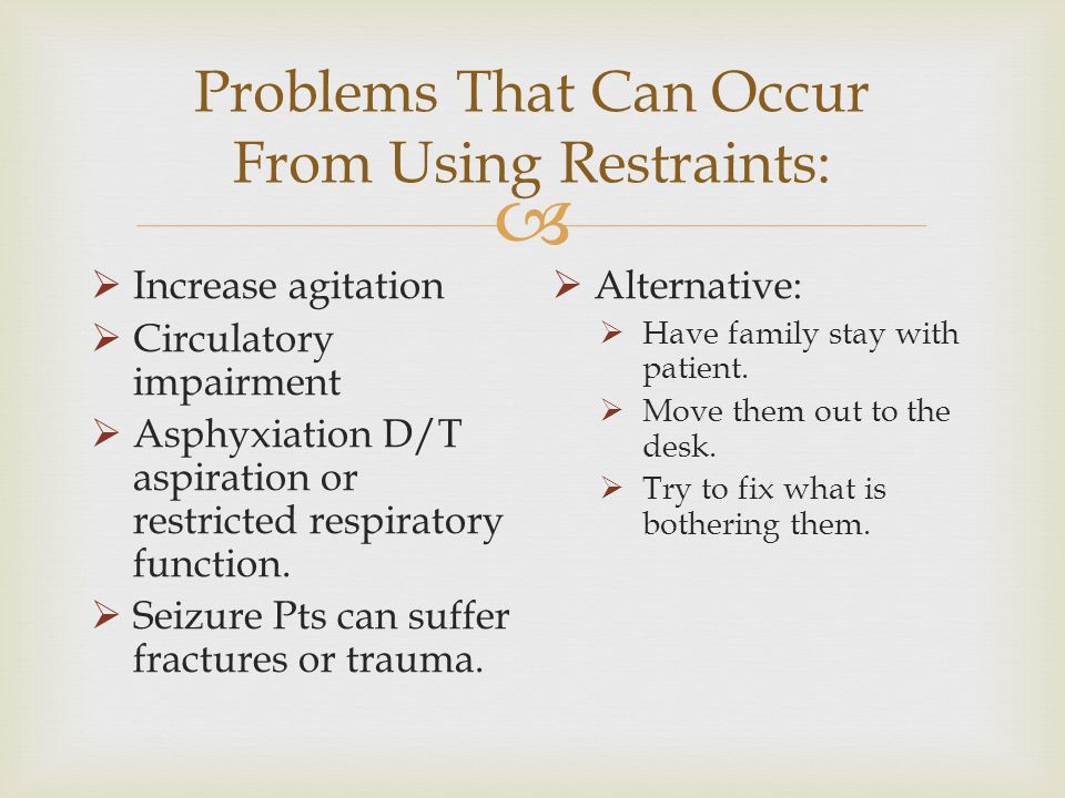 Problems That Can Occur From Using Restraints: