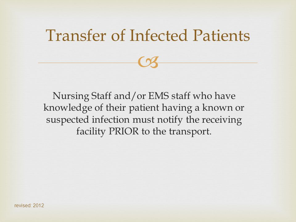Transfer of Infected Patients