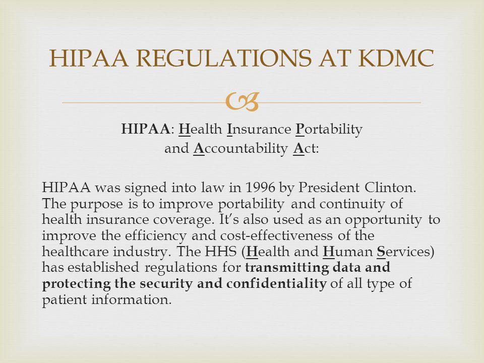 HIPAA REGULATIONS AT KDMC