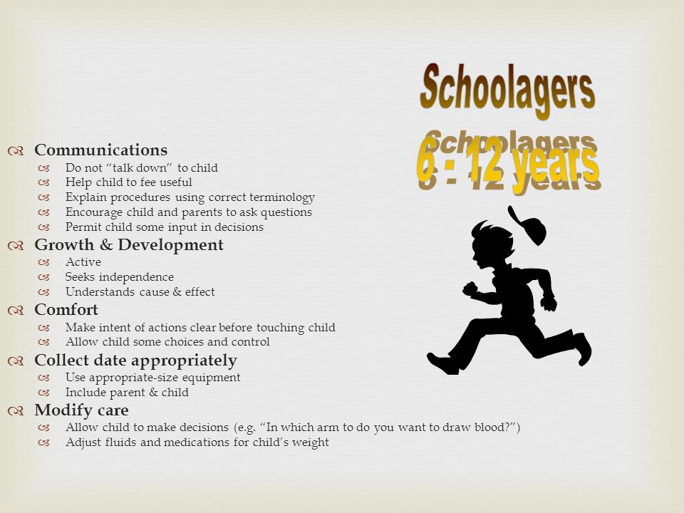 Schoolagers 6 - 12 years Communications Growth & Development Comfort