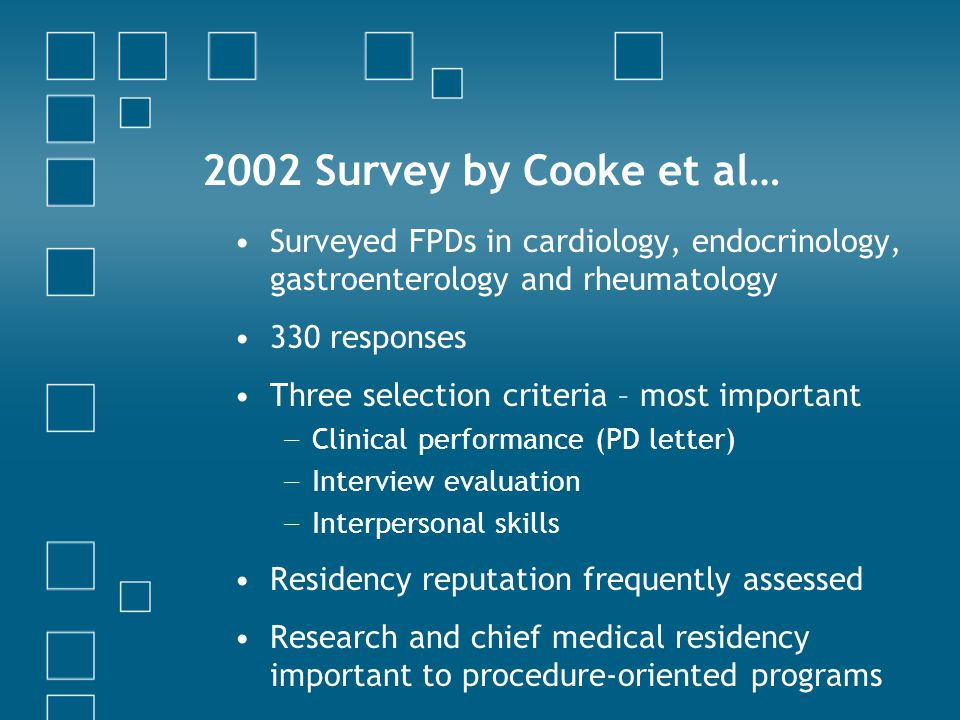 2002 Survey by Cooke et al… Surveyed FPDs in cardiology, endocrinology, gastroenterology and rheumatology.