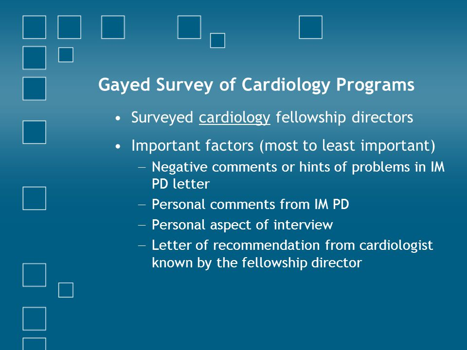 Gayed Survey of Cardiology Programs
