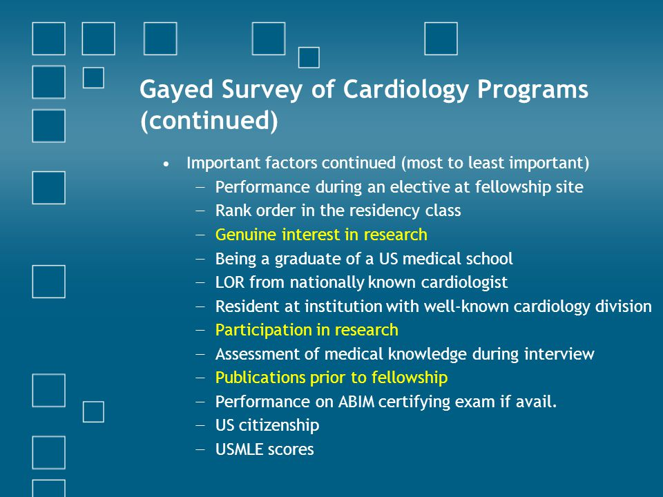 Gayed Survey of Cardiology Programs (continued)