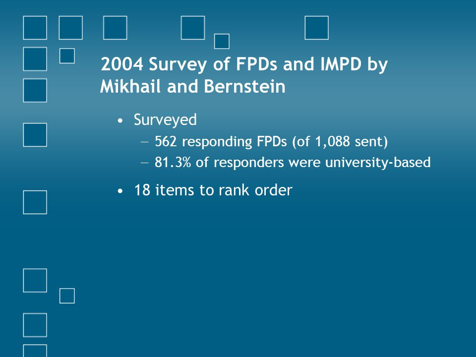 2004 Survey of FPDs and IMPD by Mikhail and Bernstein