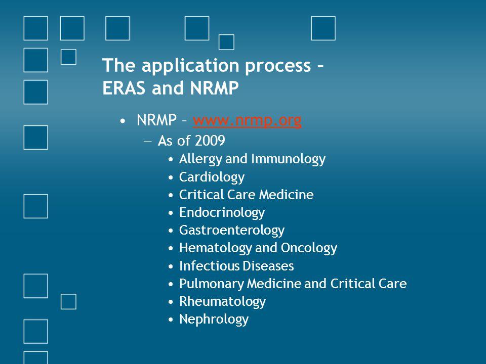 The application process – ERAS and NRMP
