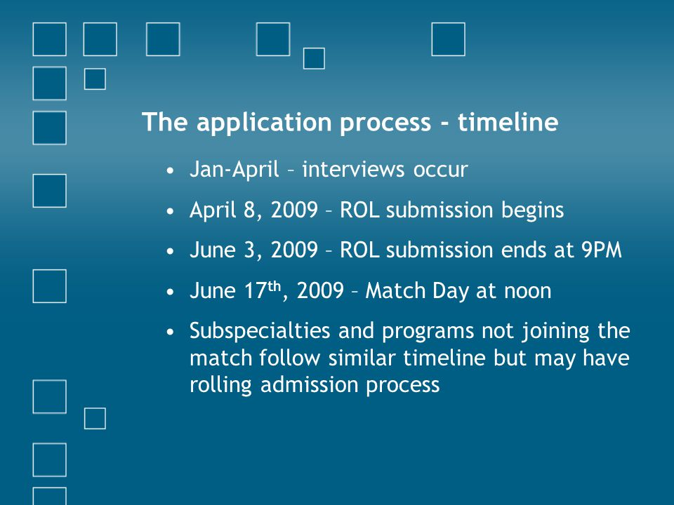The application process - timeline