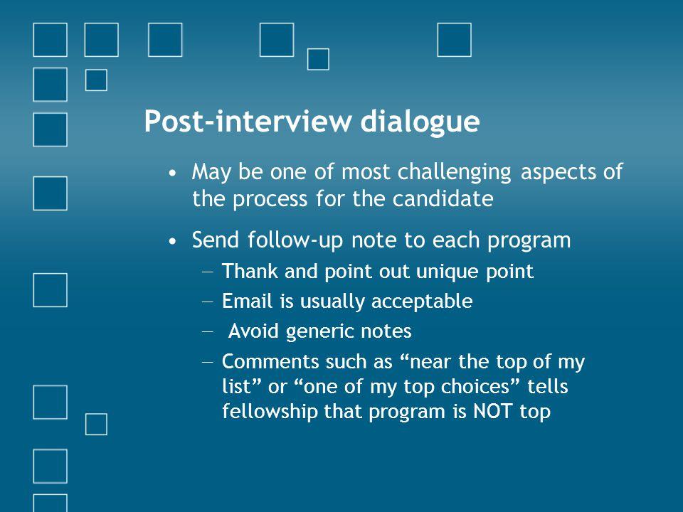 Post-interview dialogue
