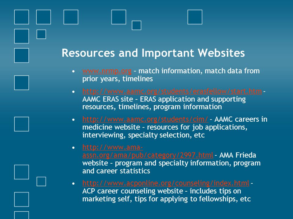 Resources and Important Websites