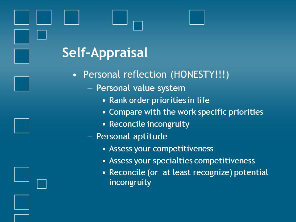 Self-Appraisal Personal reflection (HONESTY!!!) Personal value system