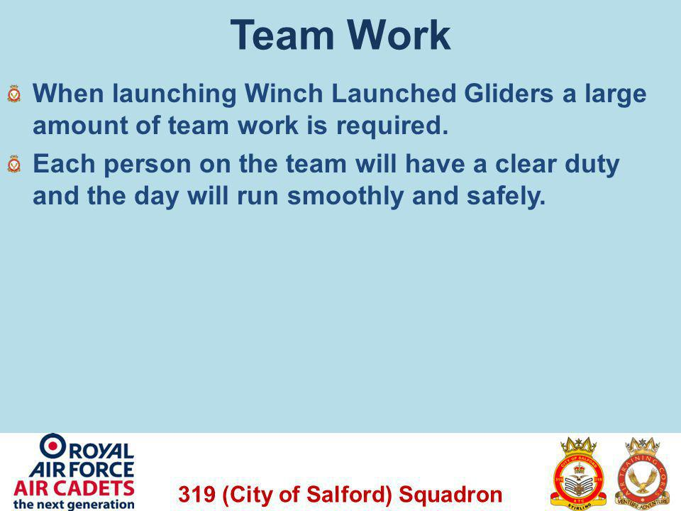 Team Work When launching Winch Launched Gliders a large amount of team work is required.