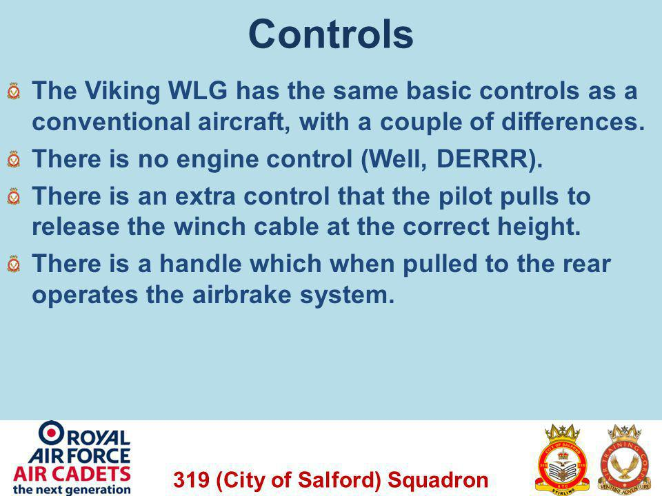 Controls The Viking WLG has the same basic controls as a conventional aircraft, with a couple of differences.