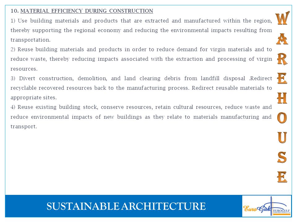 10. MATERIAL EFFICIENCY DURING CONSTRUCTION