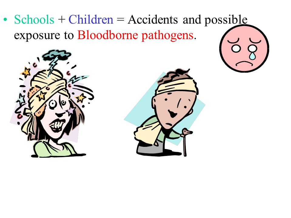 Schools + Children = Accidents and possible exposure to Bloodborne pathogens.