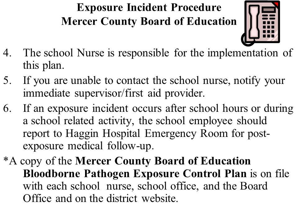 Exposure Incident Procedure Mercer County Board of Education