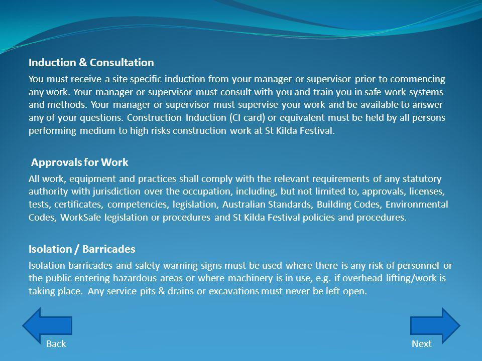 Induction & Consultation