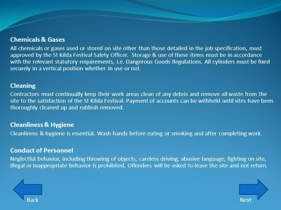 Chemicals & Gases Cleaning Cleanliness & Hygiene Conduct of Personnel