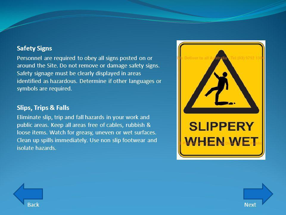 Safety Signs Slips, Trips & Falls