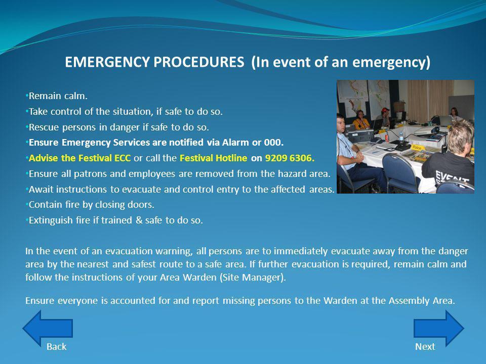 EMERGENCY PROCEDURES (In event of an emergency)