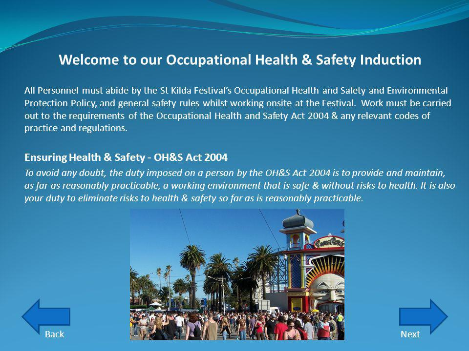 Welcome to our Occupational Health & Safety Induction