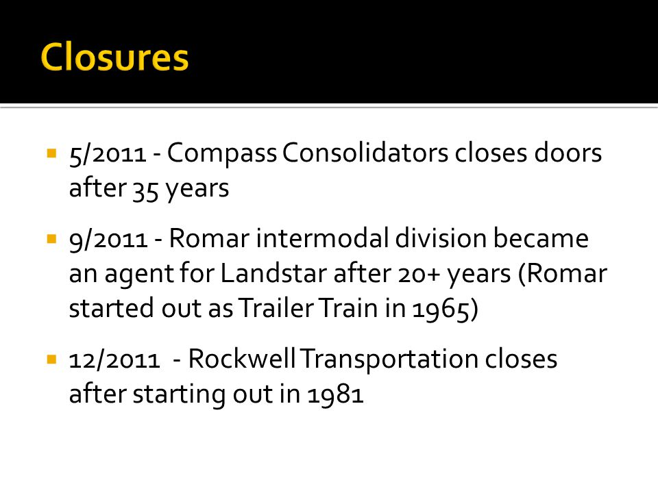 Closures 5/2011 - Compass Consolidators closes doors after 35 years