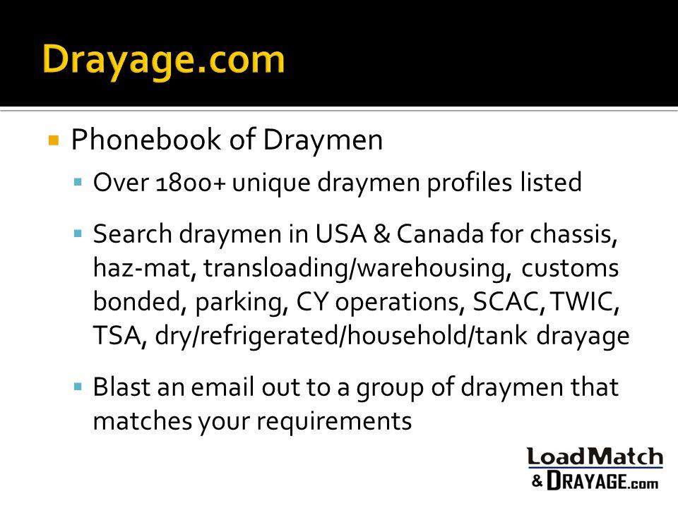 Drayage.com Phonebook of Draymen