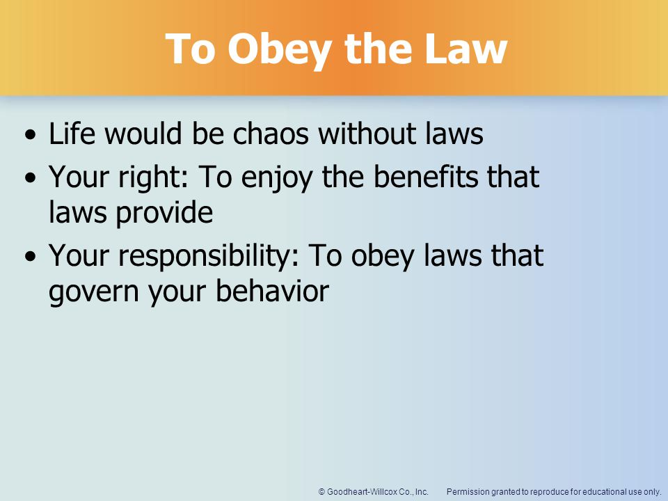 To Obey the Law Life would be chaos without laws