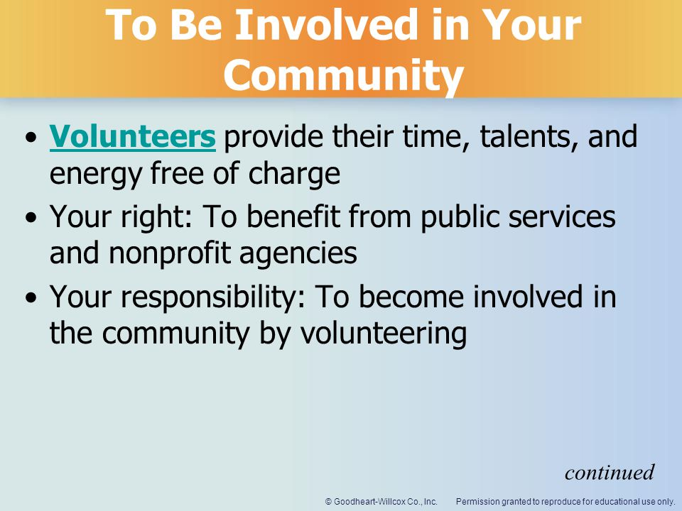 To Be Involved in Your Community