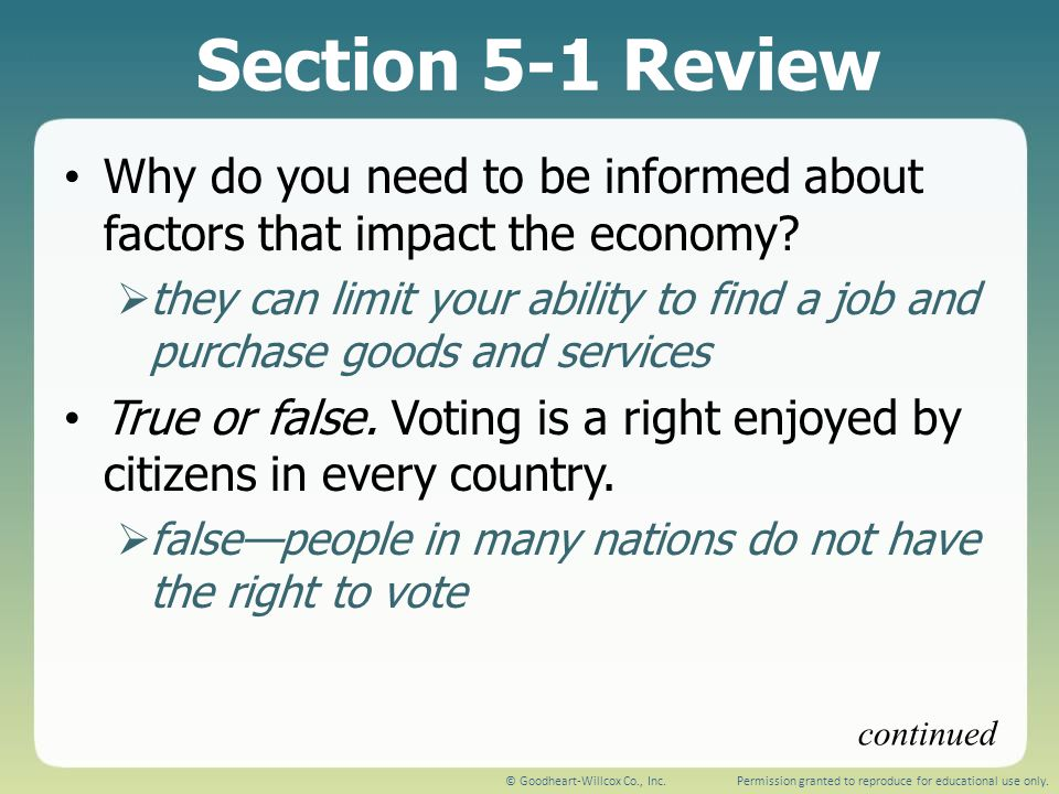 Section 5-1 Review Why do you need to be informed about factors that impact the economy