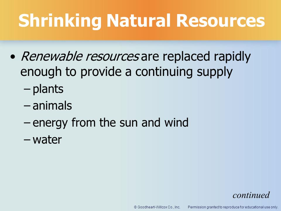 Shrinking Natural Resources