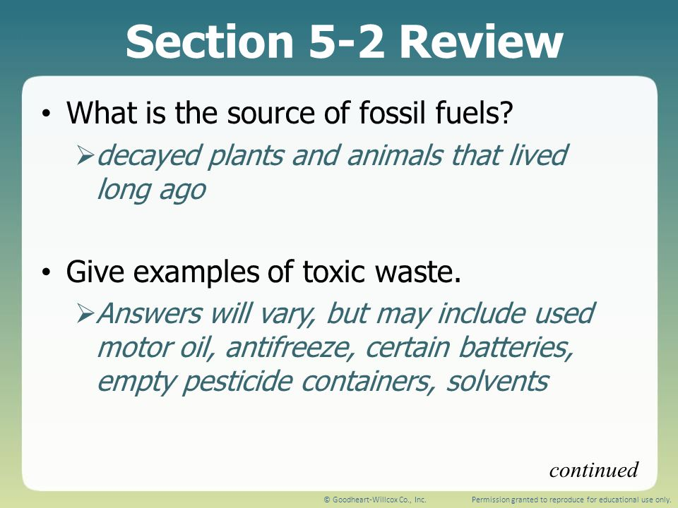 Section 5-2 Review What is the source of fossil fuels