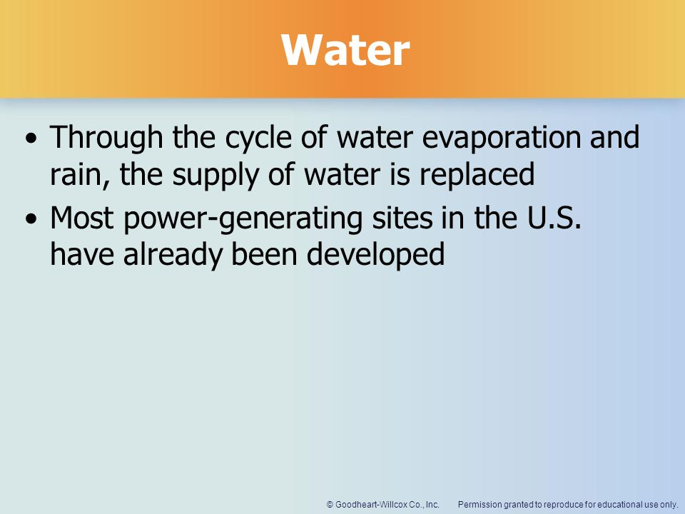 Water Through the cycle of water evaporation and rain, the supply of water is replaced.