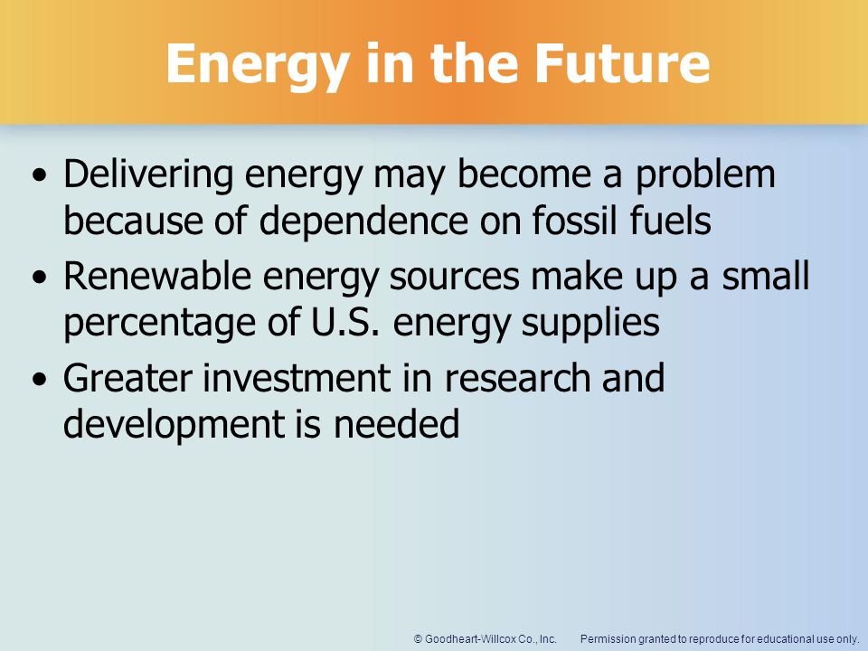 Energy in the Future Delivering energy may become a problem because of dependence on fossil fuels.
