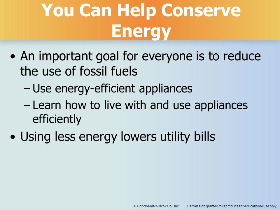 You Can Help Conserve Energy