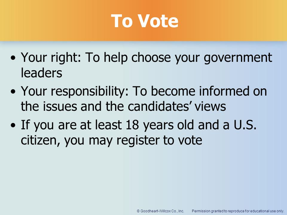 To Vote Your right: To help choose your government leaders