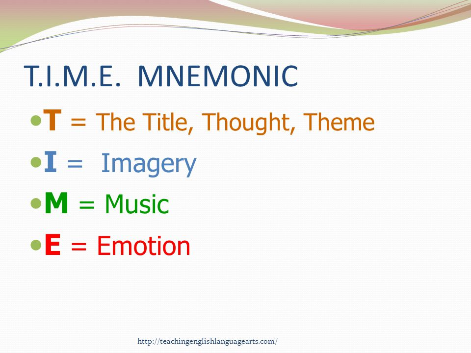 T.I.M.E. MNEMONIC T = The Title, Thought, Theme I = Imagery M = Music