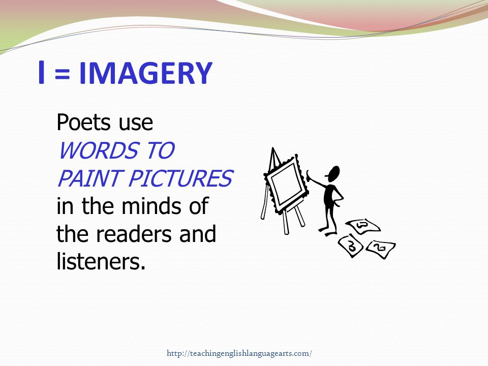 I = IMAGERY Poets use WORDS TO PAINT PICTURES in the minds of the readers and listeners.