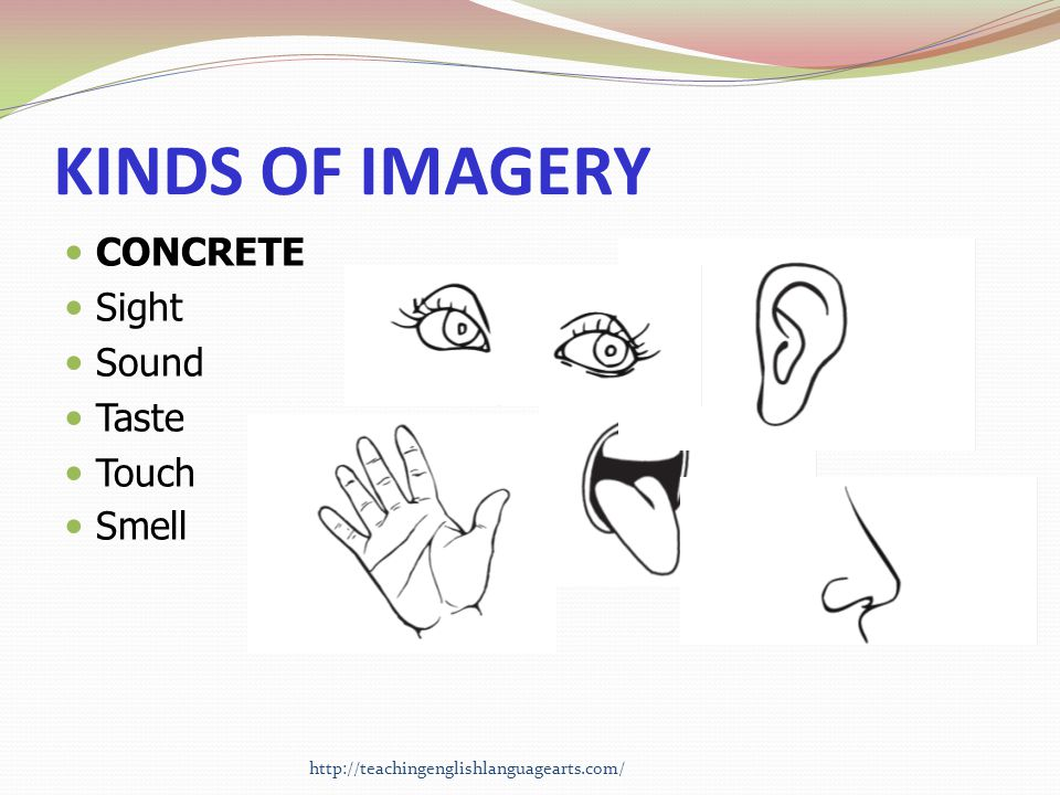 KINDS OF IMAGERY CONCRETE Sight Sound Taste Touch Smell
