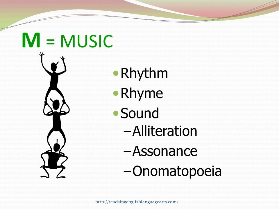 M = MUSIC Rhythm Rhyme Sound Alliteration Assonance Onomatopoeia