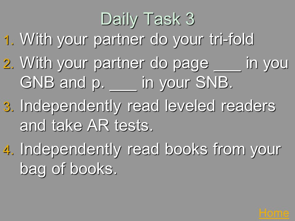 Daily Task 3 With your partner do your tri-fold