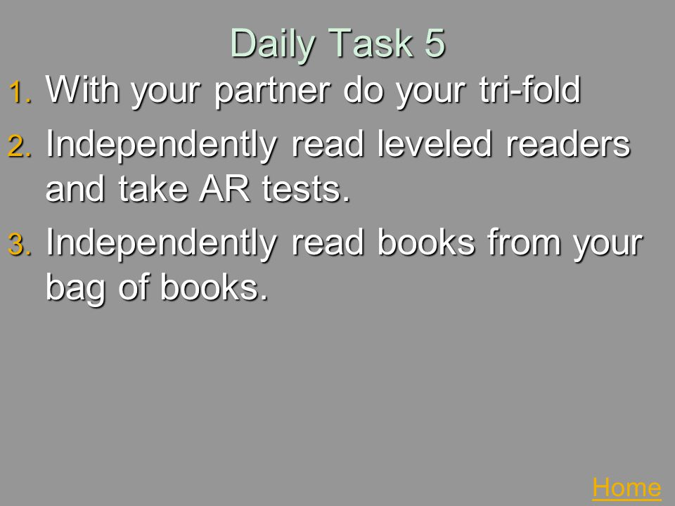 Daily Task 5 With your partner do your tri-fold