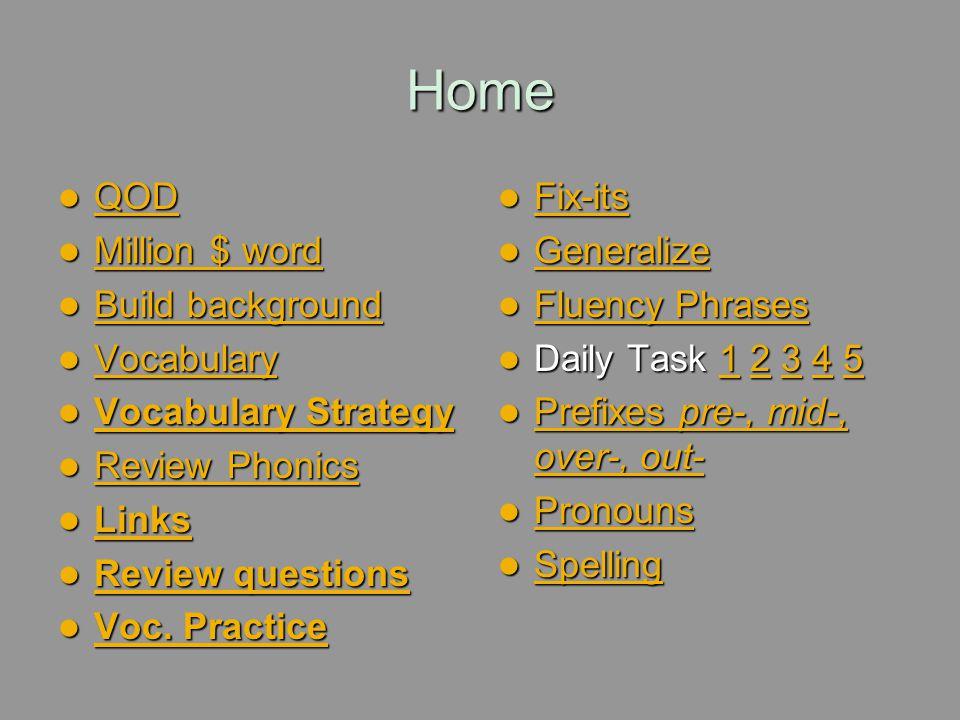 Home QOD Million $ word Build background Vocabulary