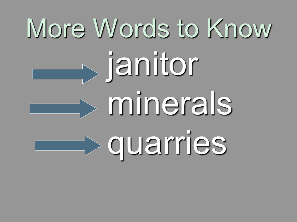 More Words to Know janitor minerals quarries